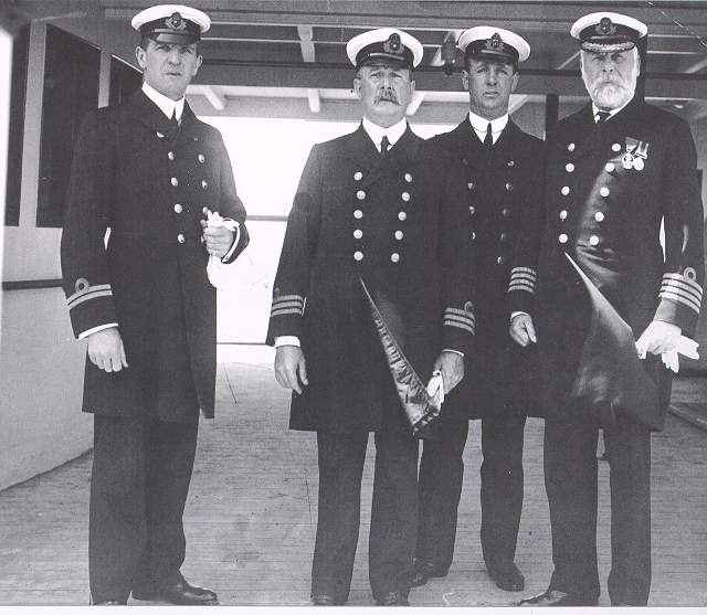 Left to Right: William McMaster Murdoch, Charles A. Bartlett, Henry Tingle Wilde and Captain Edward John Smith