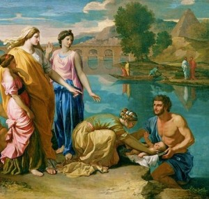 Baby Moses rescued from the Nile (1638), by Nicolas Poussin