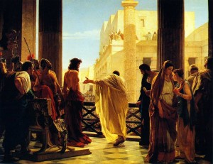 Antonio Ciseri's depiction of Pontius Pilate presenting a scourged Christ to the people -- Ecce homo! (Behold the man!).  Painted in 1871.