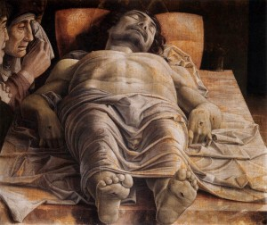 The Lamentation over the Dead Christ by Andrea Mantegna, 1490
