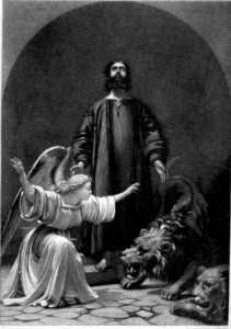 Daniel in the Lions Den, from Beauties of Sacred Literature, Thomas Wyatt, 1852