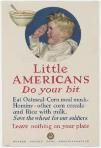 WW I poster for eating cornmeal mush